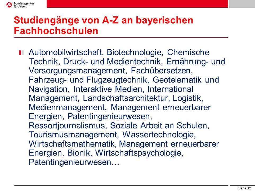 Seite 11 Studiengänge an Hochschulen f. angewandte Wissenschaften (eine Auswahl) Wirtschaft z.B. Betriebswirtschaft, Wirtschaftsinformatik, Tourismus,