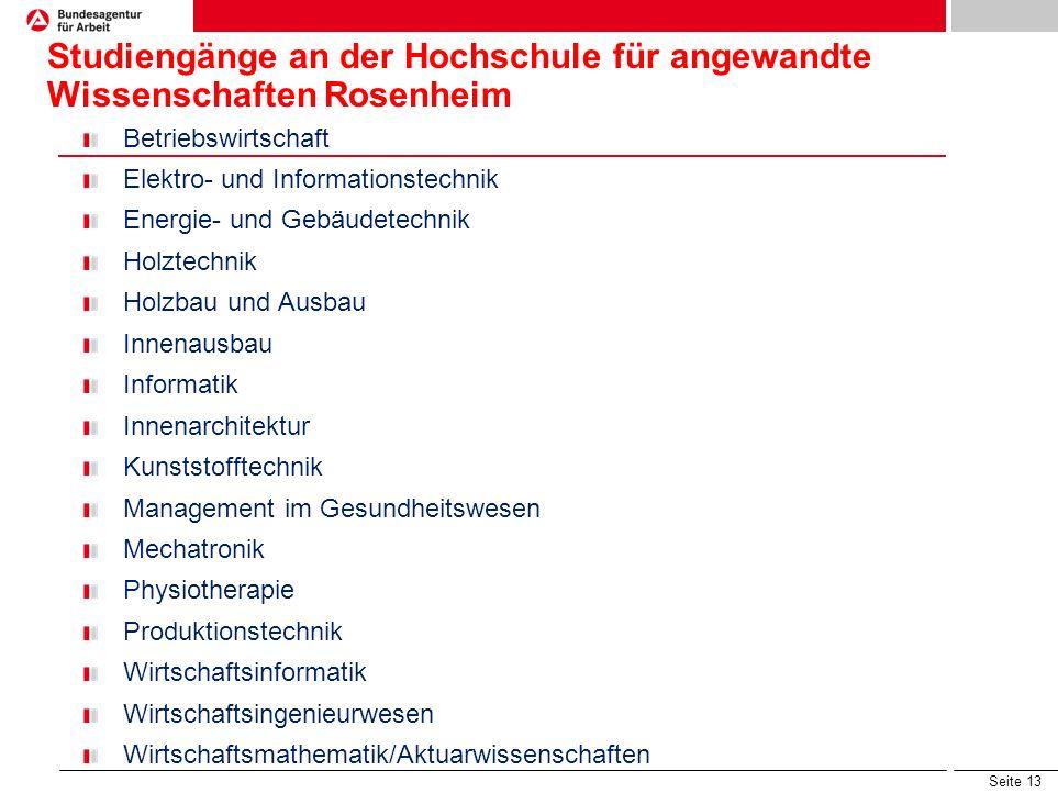 Seite 12 Studiengänge von A-Z an bayerischen Fachhochschulen Automobilwirtschaft, Biotechnologie, Chemische Technik, Druck- und Medientechnik, Ernähru