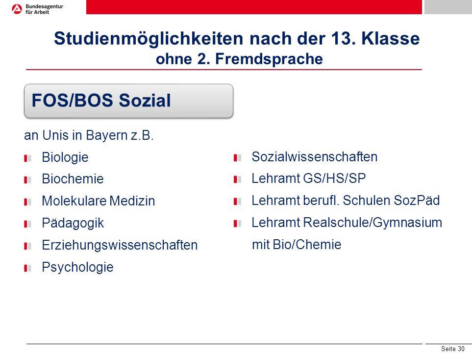 Seite 29 Studienmöglichkeiten nach der 13. Klasse ohne 2. Fremdsprache FOS/BOS Technik an Unis in Bayern z.B. Architektur/Bauingenieurwesen Chemie Phy