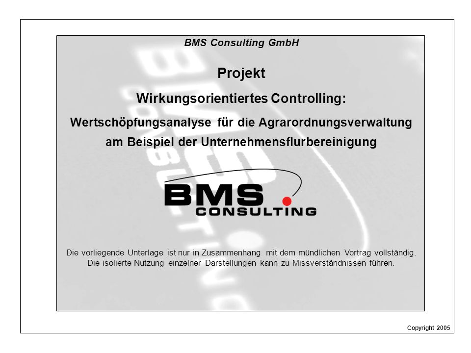 BMS Consulting GmbH Wirkungsanalyse ÄfAO – Seite 1 Dr.