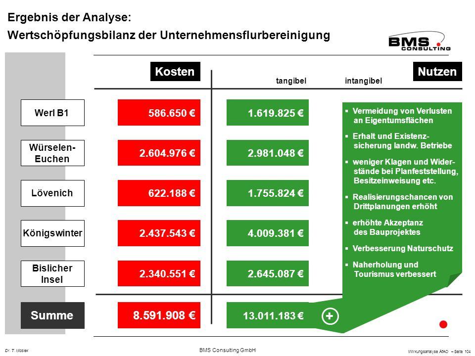BMS Consulting GmbH Wirkungsanalyse ÄfAO – Seite 104 Dr. T. Mosiek Ergebnis der Analyse: Wertschöpfungsbilanz der Unternehmensflurbereinigung KostenNu