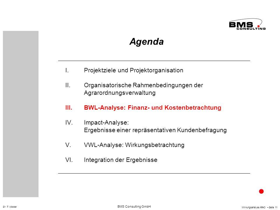 BMS Consulting GmbH Wirkungsanalyse ÄfAO – Seite 11 Dr. T. Mosiek Agenda I.Projektziele und Projektorganisation II.Organisatorische Rahmenbedingungen