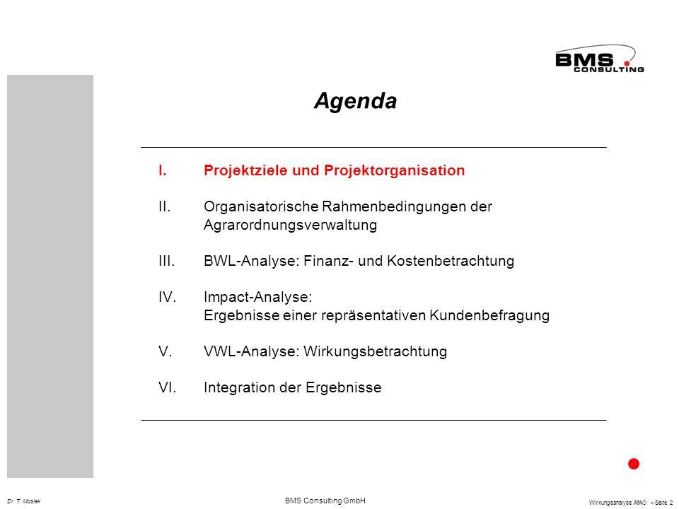 BMS Consulting GmbH Wirkungsanalyse ÄfAO – Seite 2 Dr. T. Mosiek Agenda I.Projektziele und Projektorganisation II.Organisatorische Rahmenbedingungen d