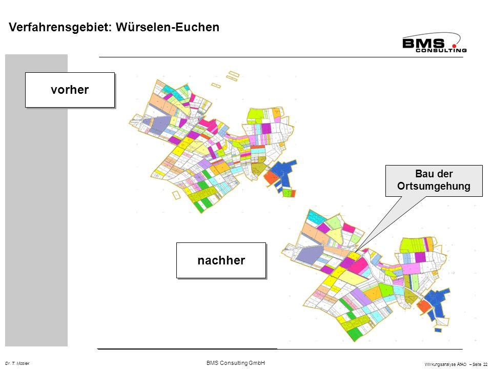 BMS Consulting GmbH Wirkungsanalyse ÄfAO – Seite 22 Dr. T. Mosiek vorher nachher Bau der Ortsumgehung Verfahrensgebiet: Würselen-Euchen