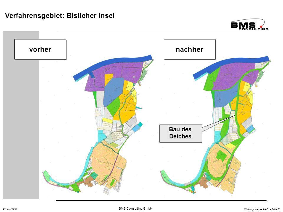 BMS Consulting GmbH Wirkungsanalyse ÄfAO – Seite 23 Dr. T. Mosiek vorher nachher Bau des Deiches Verfahrensgebiet: Bislicher Insel