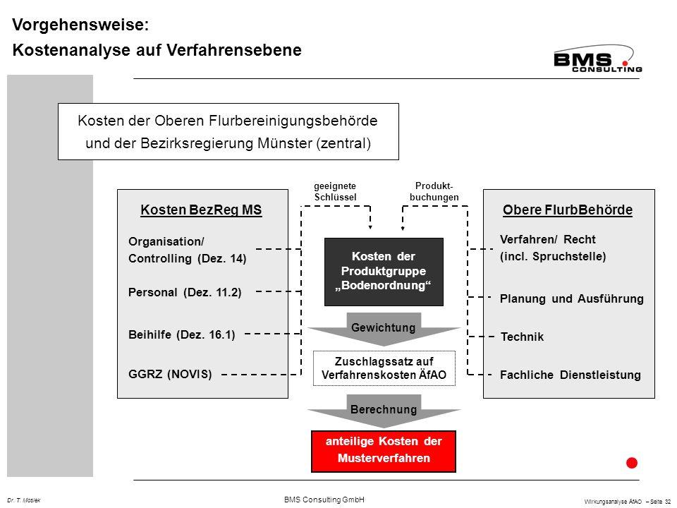 BMS Consulting GmbH Wirkungsanalyse ÄfAO – Seite 32 Dr. T. Mosiek Vorgehensweise: Kostenanalyse auf Verfahrensebene Kosten der Oberen Flurbereinigungs