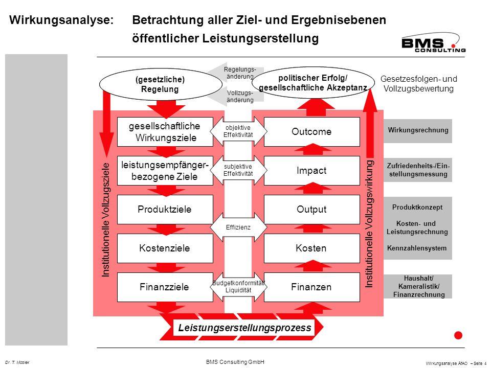 BMS Consulting GmbH Wirkungsanalyse ÄfAO – Seite 4 Dr. T. Mosiek Haushalt/ Kameralistik/ Finanzrechnung Wirkungsrechnung Zufriedenheits-/Ein- stellung