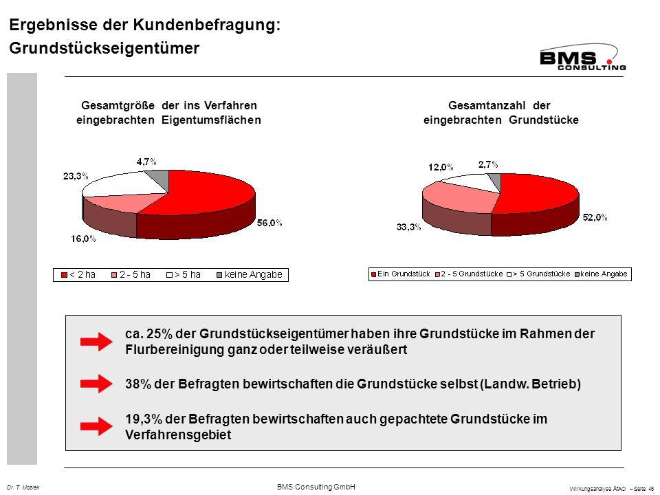 BMS Consulting GmbH Wirkungsanalyse ÄfAO – Seite 46 Dr. T. Mosiek Ergebnisse der Kundenbefragung: Grundstückseigentümer Gesamtgröße der ins Verfahren