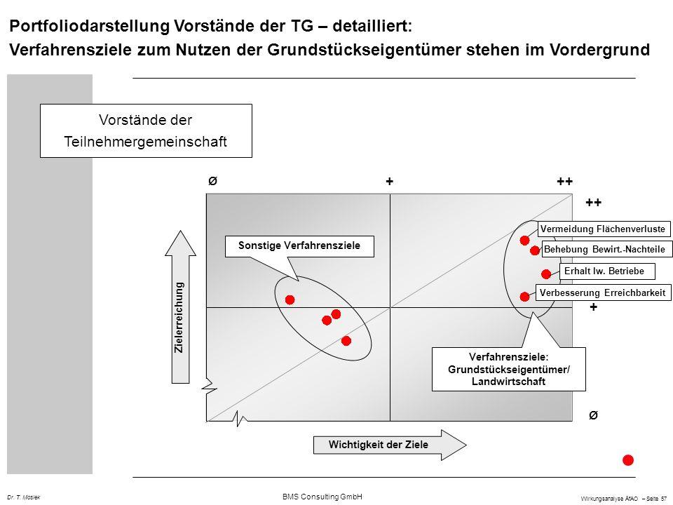 BMS Consulting GmbH Wirkungsanalyse ÄfAO – Seite 57 Dr. T. Mosiek Portfoliodarstellung Vorstände der TG – detailliert: Verfahrensziele zum Nutzen der