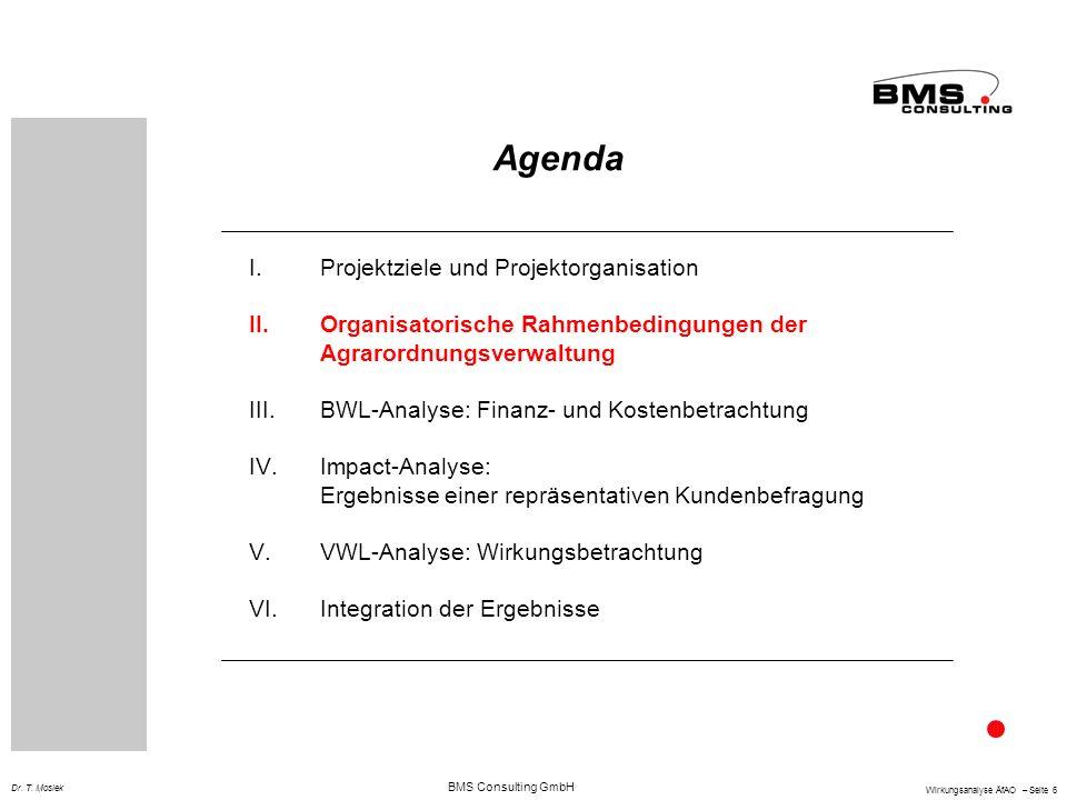 BMS Consulting GmbH Wirkungsanalyse ÄfAO – Seite 6 Dr. T. Mosiek Agenda I.Projektziele und Projektorganisation II.Organisatorische Rahmenbedingungen d