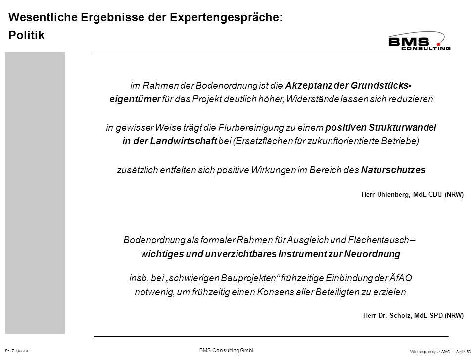BMS Consulting GmbH Wirkungsanalyse ÄfAO – Seite 63 Dr. T. Mosiek Wesentliche Ergebnisse der Expertengespräche: Politik im Rahmen der Bodenordnung ist