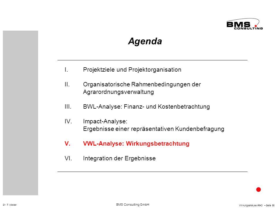 BMS Consulting GmbH Wirkungsanalyse ÄfAO – Seite 66 Dr. T. Mosiek Agenda I.Projektziele und Projektorganisation II.Organisatorische Rahmenbedingungen
