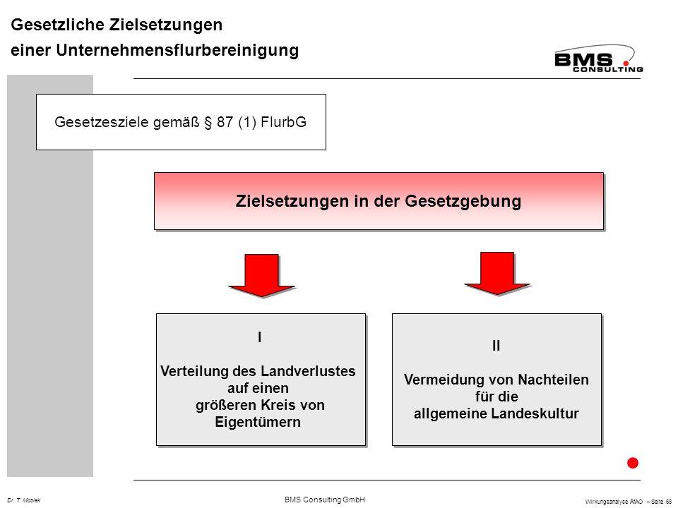 BMS Consulting GmbH Wirkungsanalyse ÄfAO – Seite 68 Dr. T. Mosiek Gesetzliche Zielsetzungen einer Unternehmensflurbereinigung Zielsetzungen in der Ges