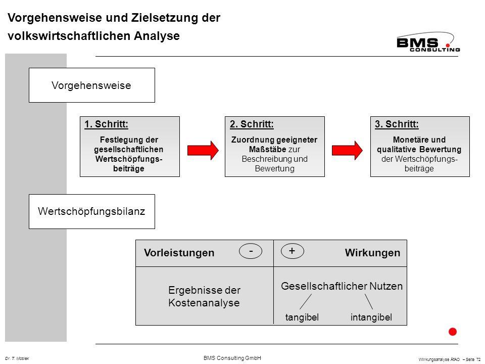 BMS Consulting GmbH Wirkungsanalyse ÄfAO – Seite 72 Dr. T. Mosiek Vorgehensweise und Zielsetzung der volkswirtschaftlichen Analyse 1. Schritt: Festleg