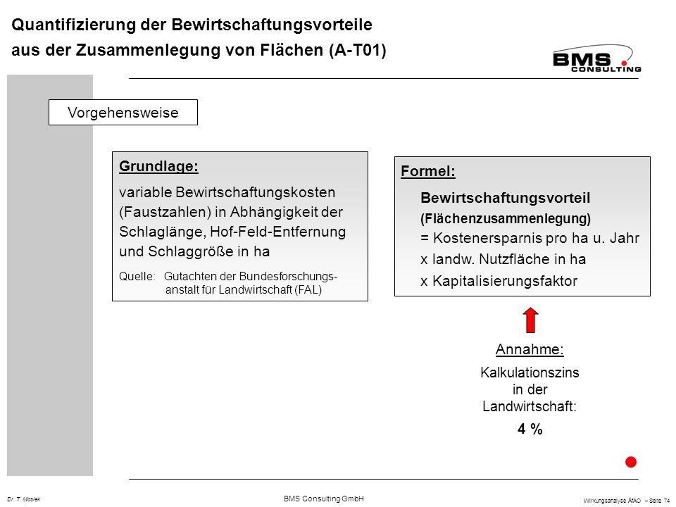 BMS Consulting GmbH Wirkungsanalyse ÄfAO – Seite 74 Dr. T. Mosiek Quantifizierung der Bewirtschaftungsvorteile aus der Zusammenlegung von Flächen (A-T