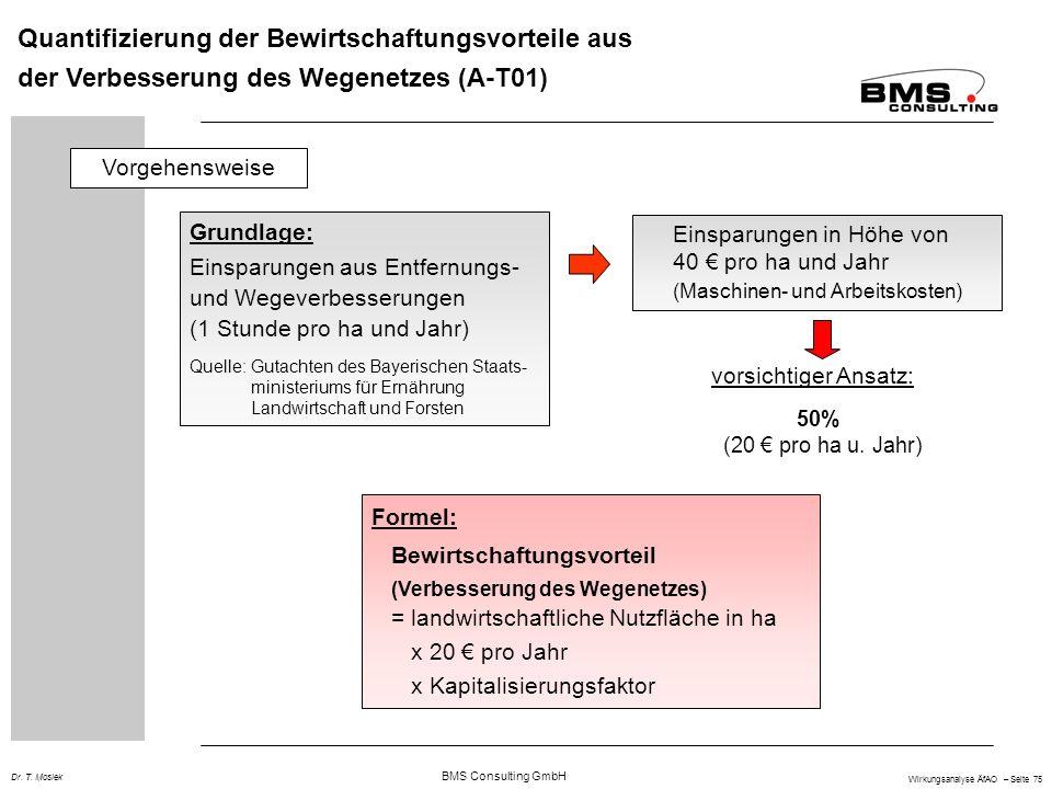 BMS Consulting GmbH Wirkungsanalyse ÄfAO – Seite 75 Dr. T. Mosiek Quantifizierung der Bewirtschaftungsvorteile aus der Verbesserung des Wegenetzes (A-