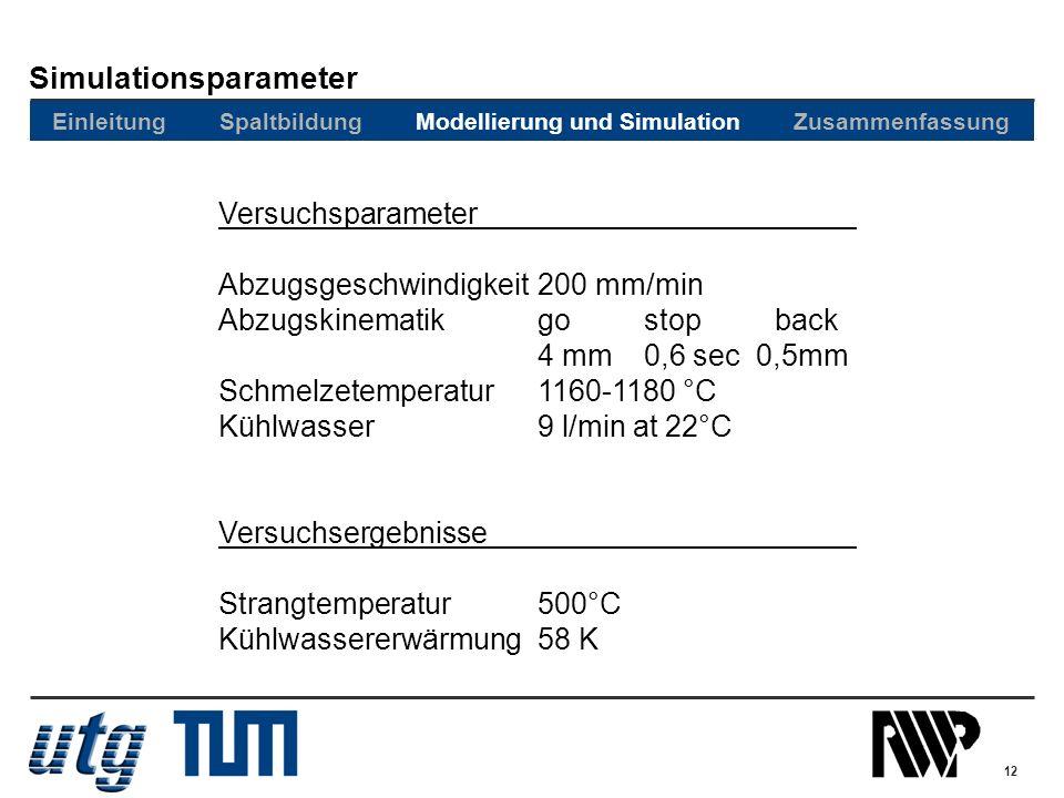 12 Versuchsparameter Abzugsgeschwindigkeit200 mm/min Abzugskinematikgostop back 4 mm0,6 sec 0,5mm Schmelzetemperatur1160-1180 °C Kühlwasser9 l/min at