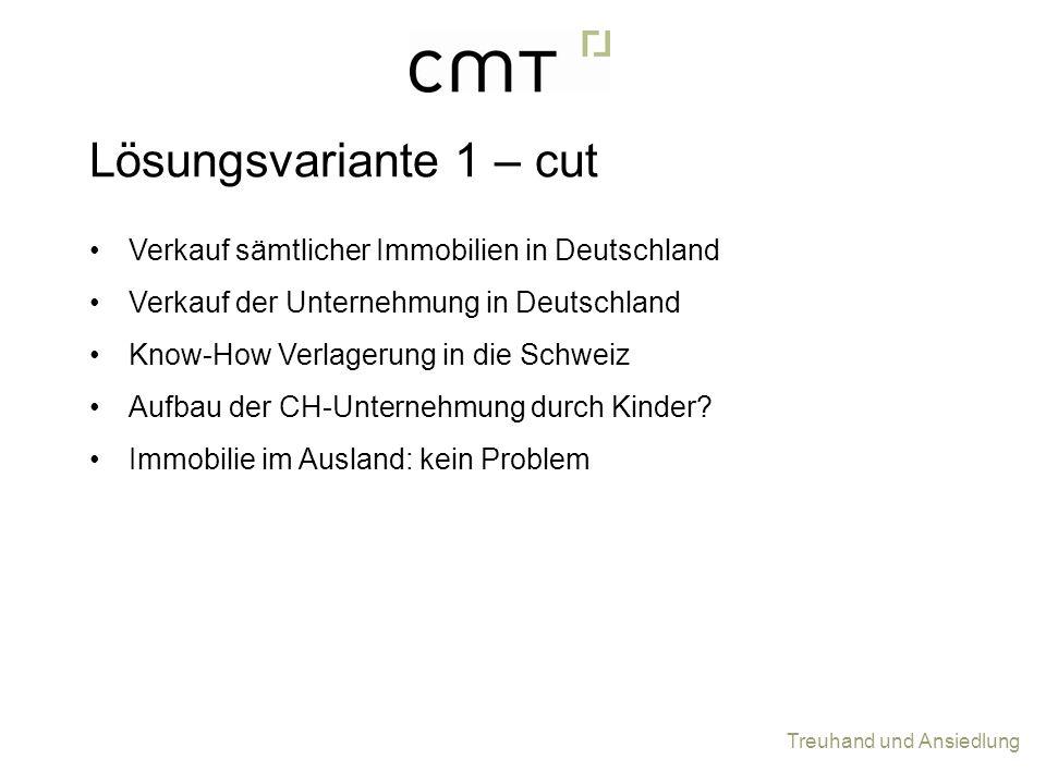 Treuhand und Ansiedlung Verkauf sämtlicher Immobilien in Deutschland Verkauf der Unternehmung in Deutschland Know-How Verlagerung in die Schweiz Aufba
