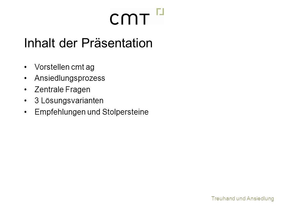 Inhalt der Präsentation Vorstellen cmt ag Ansiedlungsprozess Zentrale Fragen 3 Lösungsvarianten Empfehlungen und Stolpersteine