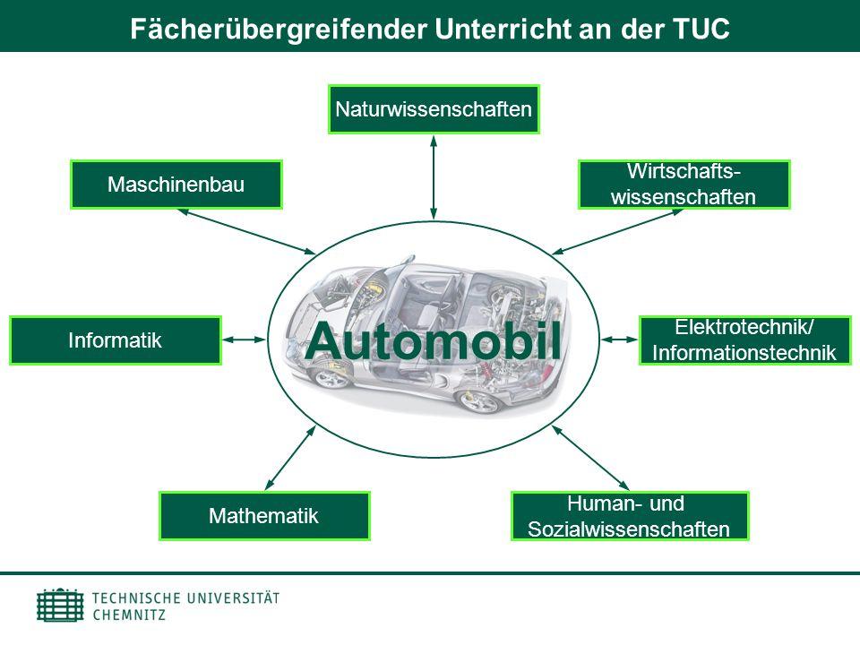 Fächerübergreifender Unterricht an der TUC Automobil Maschinenbau Wirtschafts- wissenschaften Informatik Elektrotechnik/ Informationstechnik Mathemati