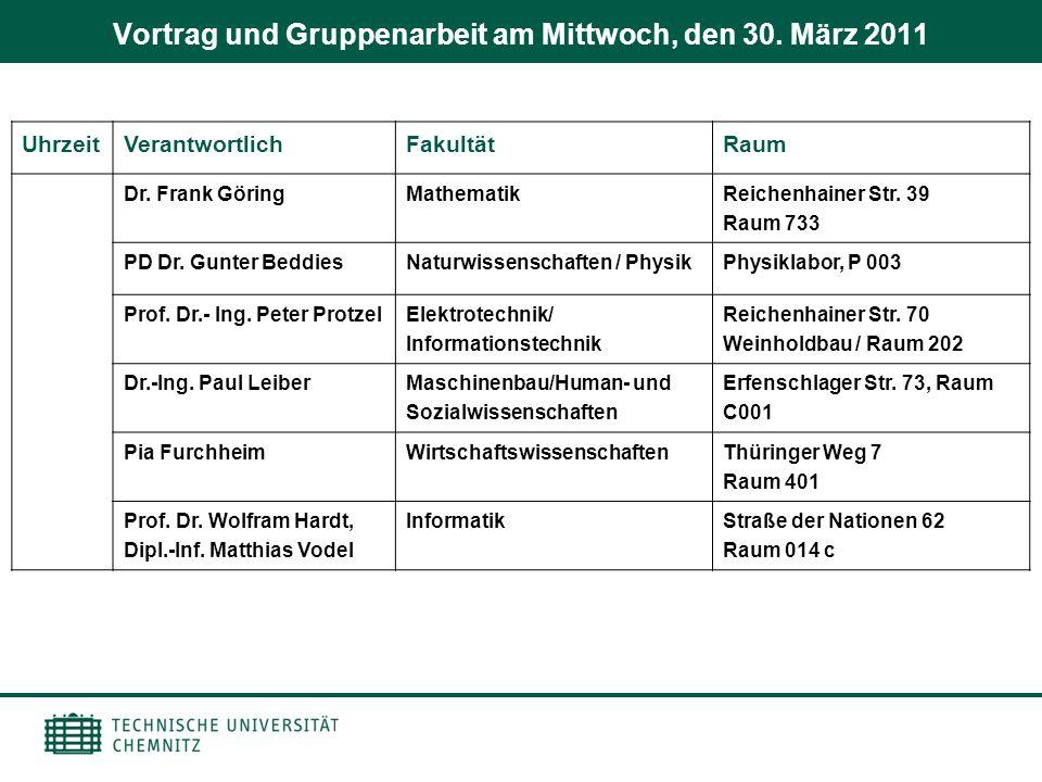 Vortrag und Gruppenarbeit am Mittwoch, den 30. März 2011 UhrzeitVerantwortlichFakultätRaum Dr. Frank GöringMathematik Reichenhainer Str. 39 Raum 733 P