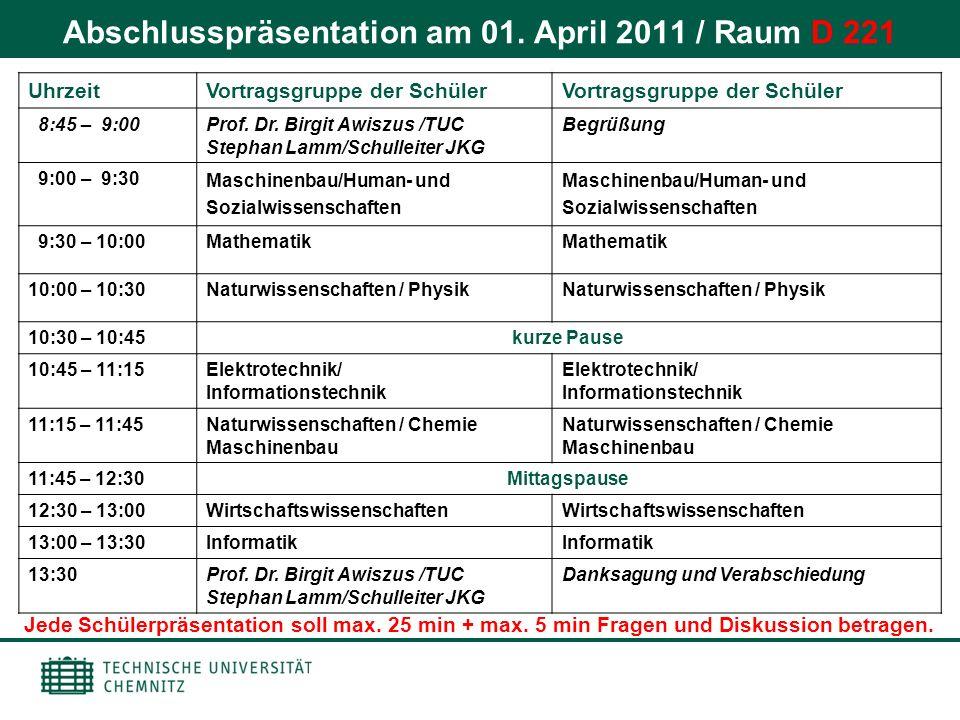 Abschlusspräsentation am 01. April 2011 / Raum D 221 UhrzeitVortragsgruppe der Schüler 8:45 – 9:00Prof. Dr. Birgit Awiszus /TUC Stephan Lamm/Schulleit