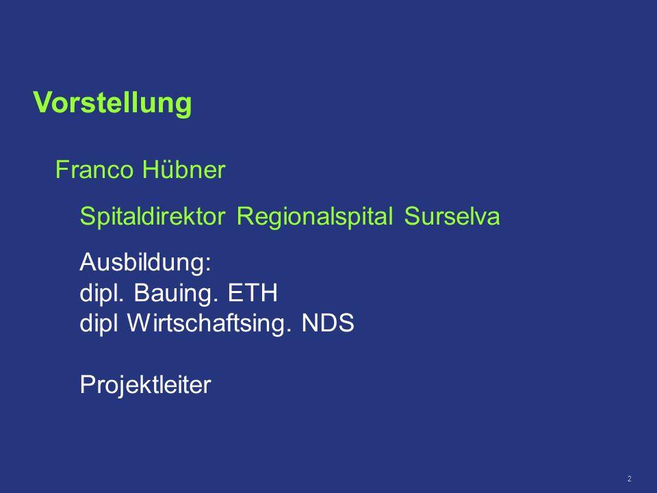2 Vorstellung Franco Hübner Spitaldirektor Regionalspital Surselva Ausbildung: dipl. Bauing. ETH dipl Wirtschaftsing. NDS Projektleiter