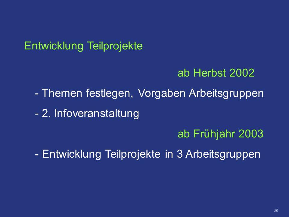 25 Entwicklung Teilprojekte ab Herbst 2002 - Themen festlegen, Vorgaben Arbeitsgruppen - 2. Infoveranstaltung ab Frühjahr 2003 - Entwicklung Teilproje
