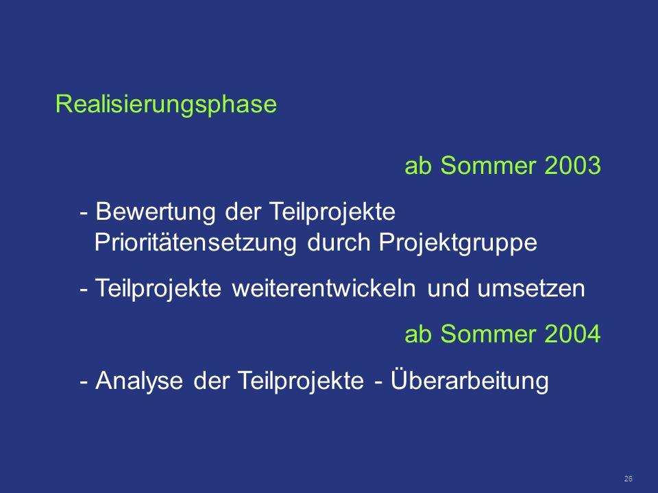 26 Realisierungsphase ab Sommer 2003 - Bewertung der Teilprojekte Prioritätensetzung durch Projektgruppe - Teilprojekte weiterentwickeln und umsetzen