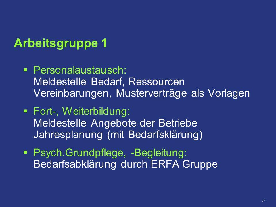 27 Personalaustausch: Meldestelle Bedarf, Ressourcen Vereinbarungen, Musterverträge als Vorlagen Fort-, Weiterbildung: Meldestelle Angebote der Betrie