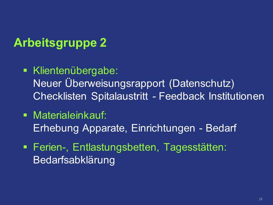 28 Klientenübergabe: Neuer Überweisungsrapport (Datenschutz) Checklisten Spitalaustritt - Feedback Institutionen Materialeinkauf: Erhebung Apparate, E