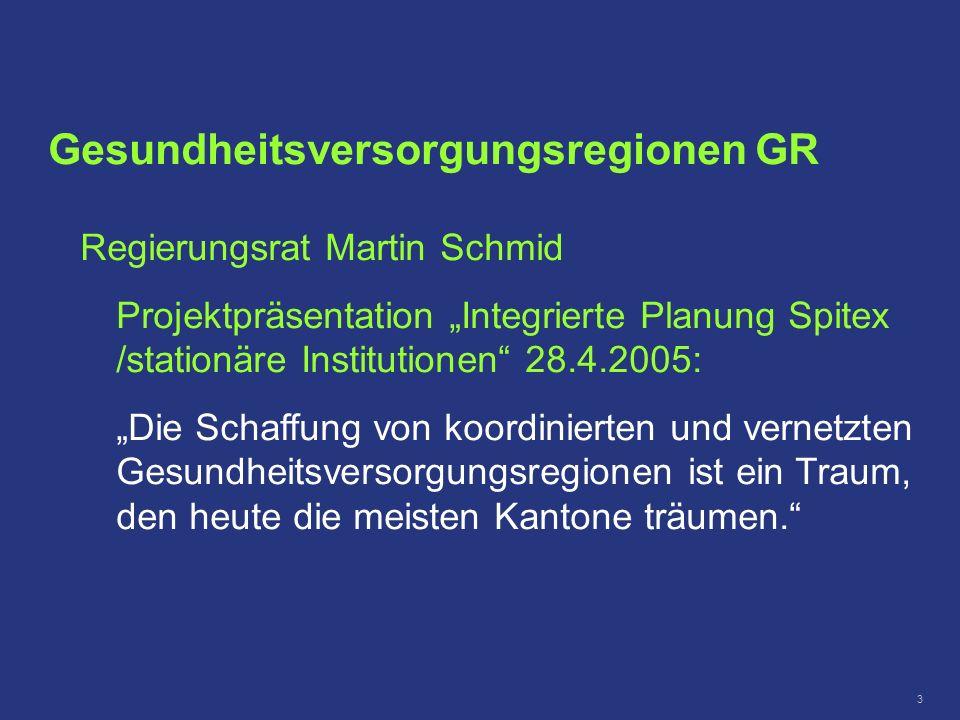 3 Gesundheitsversorgungsregionen GR Regierungsrat Martin Schmid Projektpräsentation Integrierte Planung Spitex /stationäre Institutionen 28.4.2005: Di