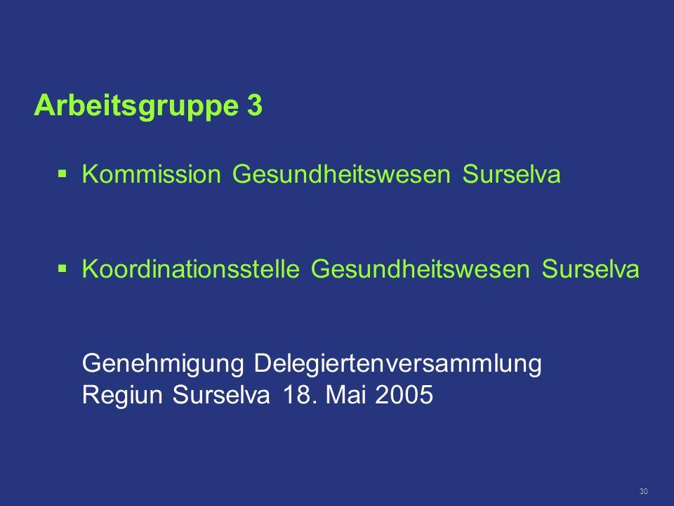 30 Kommission Gesundheitswesen Surselva Koordinationsstelle Gesundheitswesen Surselva Genehmigung Delegiertenversammlung Regiun Surselva 18. Mai 2005