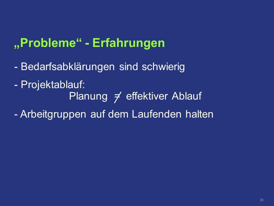 33 Probleme - Erfahrungen - Bedarfsabklärungen sind schwierig - - Projektablauf: Planung = effektiver Ablauf - - Arbeitgruppen auf dem Laufenden halte