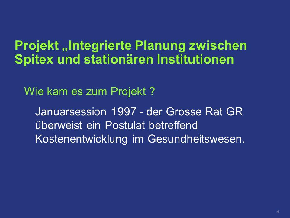 4 Projekt Integrierte Planung zwischen Spitex und stationären Institutionen Wie kam es zum Projekt ? Januarsession 1997 - der Grosse Rat GR überweist