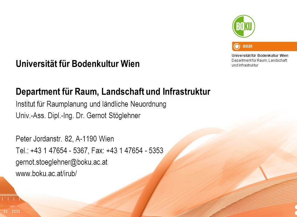 Universität für Bodenkultur Wien Department für Raum, Landschaft und Infrastruktur IRUB Universität für Bodenkultur Wien Department für Raum, Landscha