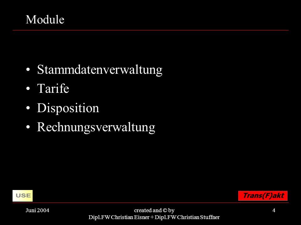 Juni 2004created and © by Dipl.FW Christian Eisner + Dipl.FW Christian Stuffner 4 Module Stammdatenverwaltung Tarife Disposition Rechnungsverwaltung