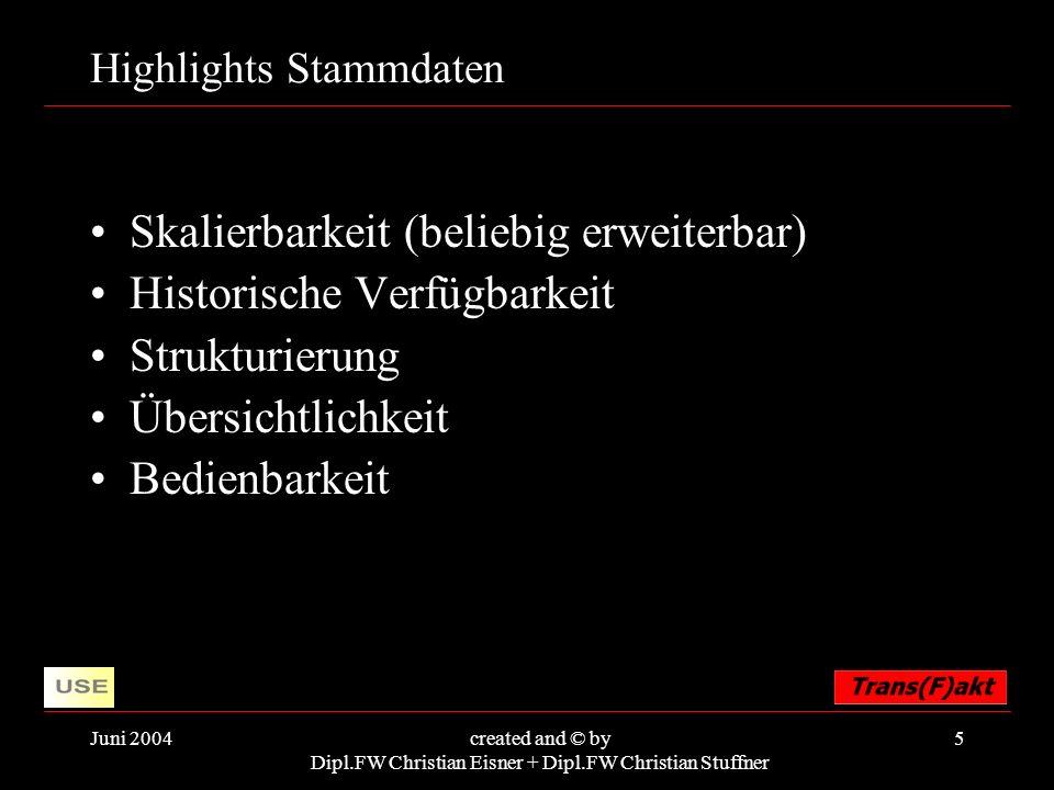 Juni 2004created and © by Dipl.FW Christian Eisner + Dipl.FW Christian Stuffner 5 Highlights Stammdaten Skalierbarkeit (beliebig erweiterbar) Historis