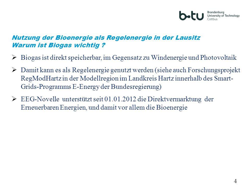 4 Nutzung der Bioenergie als Regelenergie in der Lausitz Warum ist Biogas wichtig ? Biogas ist direkt speicherbar, im Gegensatz zu Windenergie und Pho