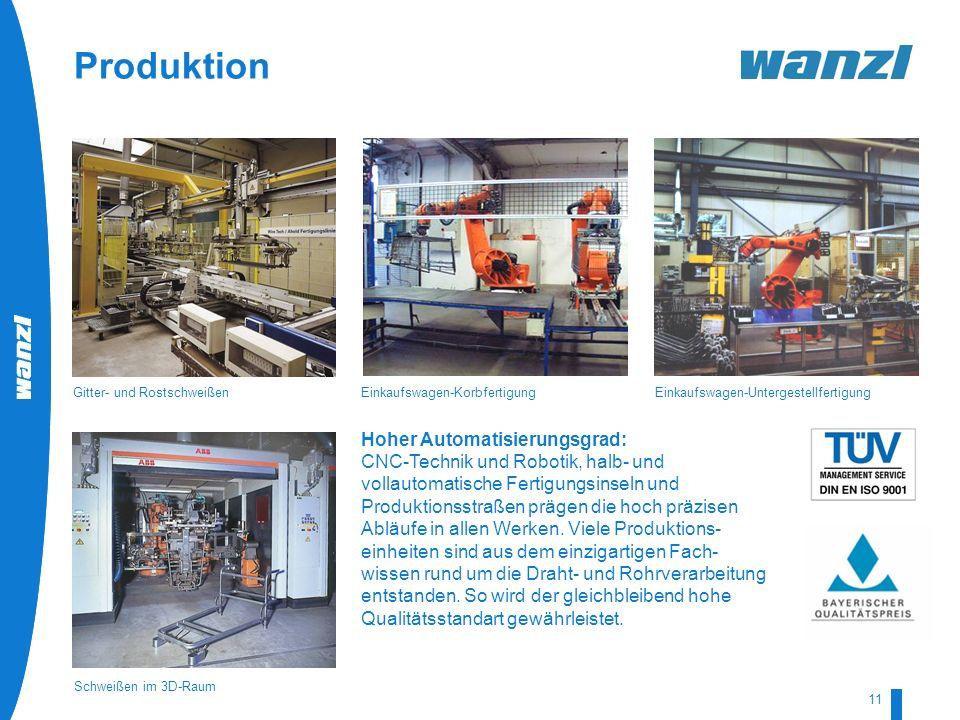 HR-Development by Wanzl 07/2008 11 Hoher Automatisierungsgrad: CNC-Technik und Robotik, halb- und vollautomatische Fertigungsinseln und Produktionsstr