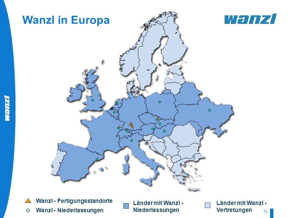 HR-Development by Wanzl 07/2008 13 Wanzl - Fertigungsstandorte Wanzl - Niederlassungen Länder mit Wanzl - Niederlassungen Länder mit Wanzl - Vertretun