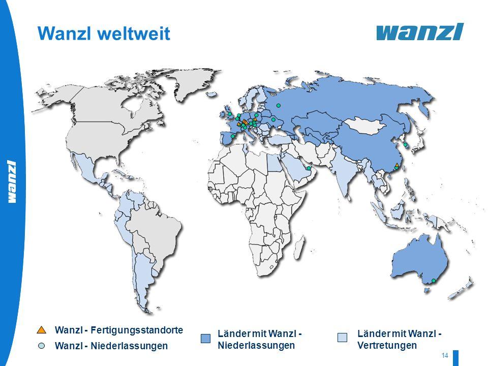 HR-Development by Wanzl 07/2008 14 Wanzl weltweit Länder mit Wanzl - Vertretungen Länder mit Wanzl - Niederlassungen Wanzl - Fertigungsstandorte Wanzl