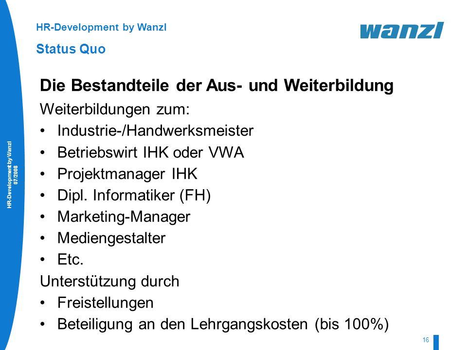 HR-Development by Wanzl 07/2008 16 HR-Development by Wanzl Status Quo Die Bestandteile der Aus- und Weiterbildung Weiterbildungen zum: Industrie-/Hand