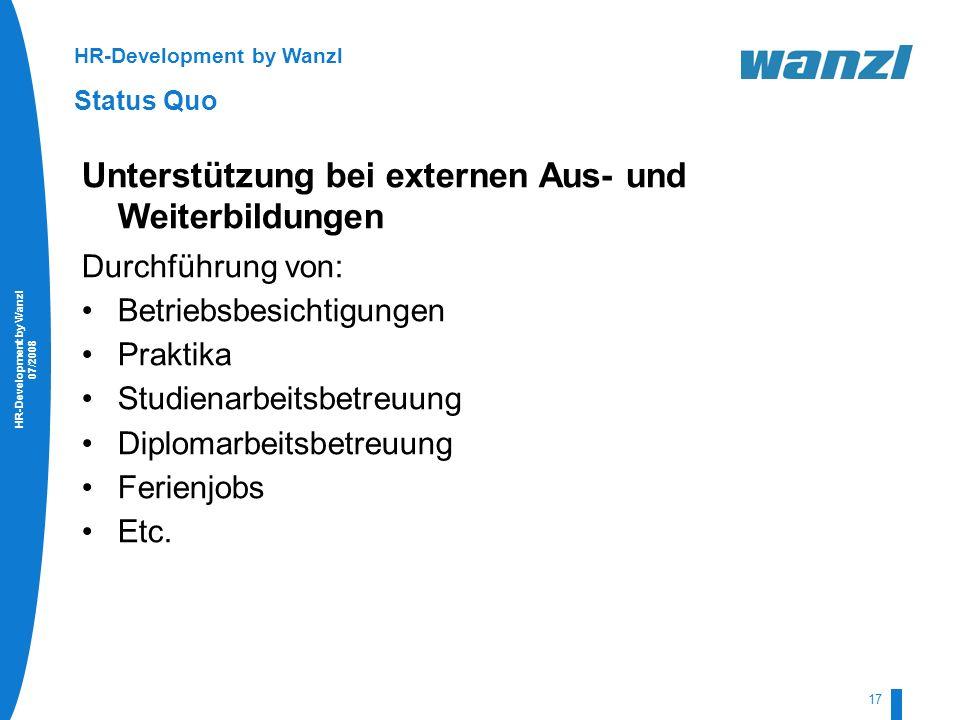 HR-Development by Wanzl 07/2008 17 HR-Development by Wanzl Status Quo Unterstützung bei externen Aus- und Weiterbildungen Durchführung von: Betriebsbe