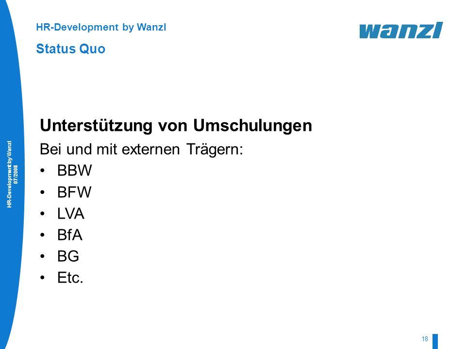 HR-Development by Wanzl 07/2008 18 HR-Development by Wanzl Status Quo Unterstützung von Umschulungen Bei und mit externen Trägern: BBW BFW LVA BfA BG