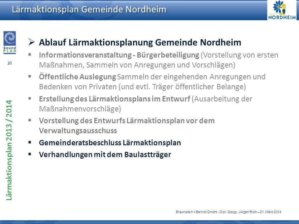 20 Lärmaktionsplan 2013 / 2014 Braunstein + Berndt GmbH - Dipl. Geogr. Jürgen Roth – 21. März 2014 Lärmaktionsplan Gemeinde Nordheim Ablauf Lärmaktion