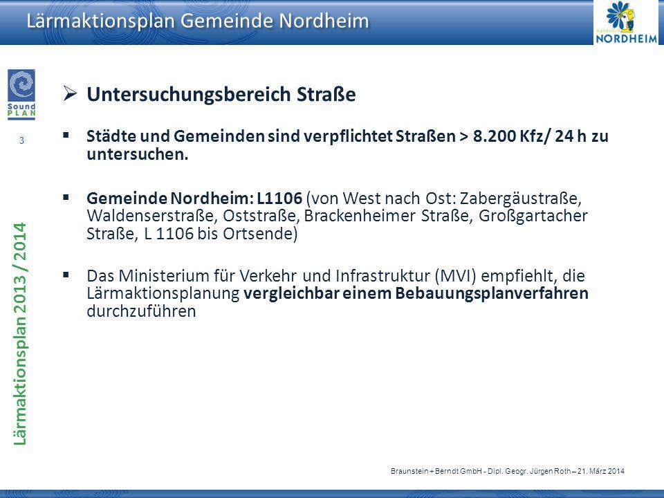 3 Lärmaktionsplan 2013 / 2014 Braunstein + Berndt GmbH - Dipl. Geogr. Jürgen Roth – 21. März 2014 Lärmaktionsplan Gemeinde Nordheim Untersuchungsberei