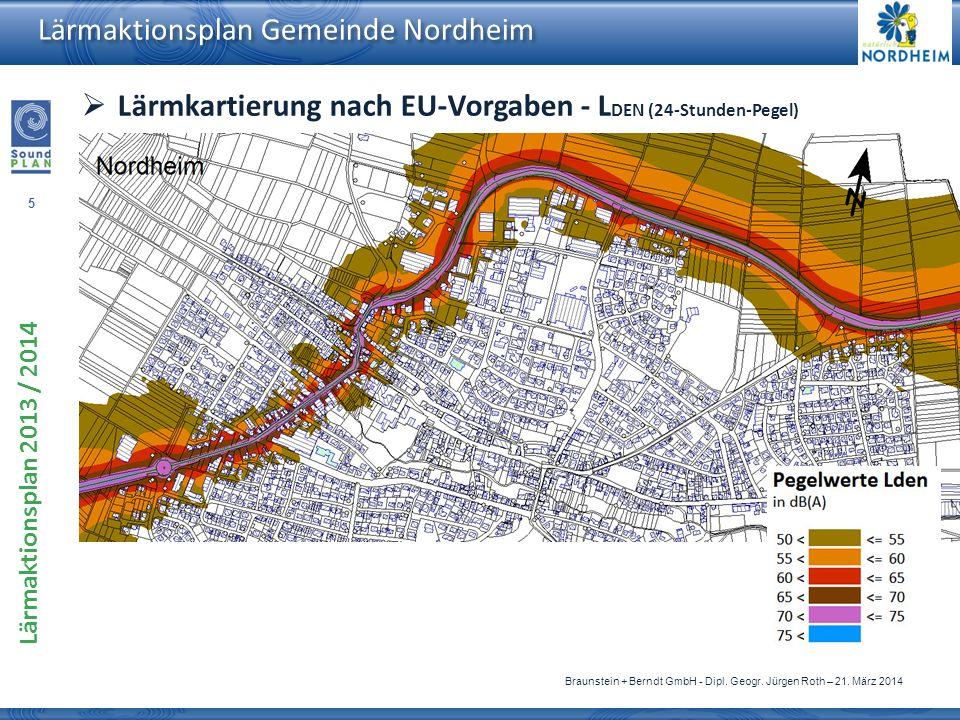 5 Lärmaktionsplan 2013 / 2014 Braunstein + Berndt GmbH - Dipl. Geogr. Jürgen Roth – 21. März 2014 Lärmaktionsplan Gemeinde Nordheim Lärmkartierung nac