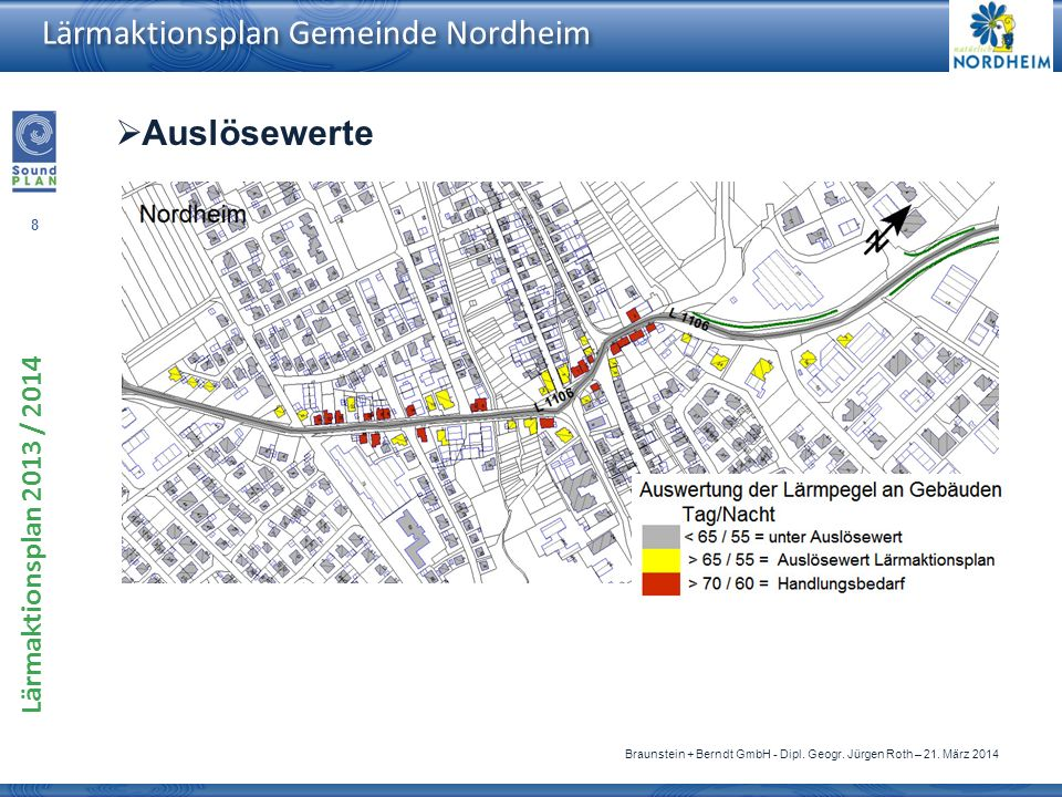 8 Lärmaktionsplan 2013 / 2014 Braunstein + Berndt GmbH - Dipl. Geogr. Jürgen Roth – 21. März 2014 Lärmaktionsplan Gemeinde Nordheim Auslösewerte