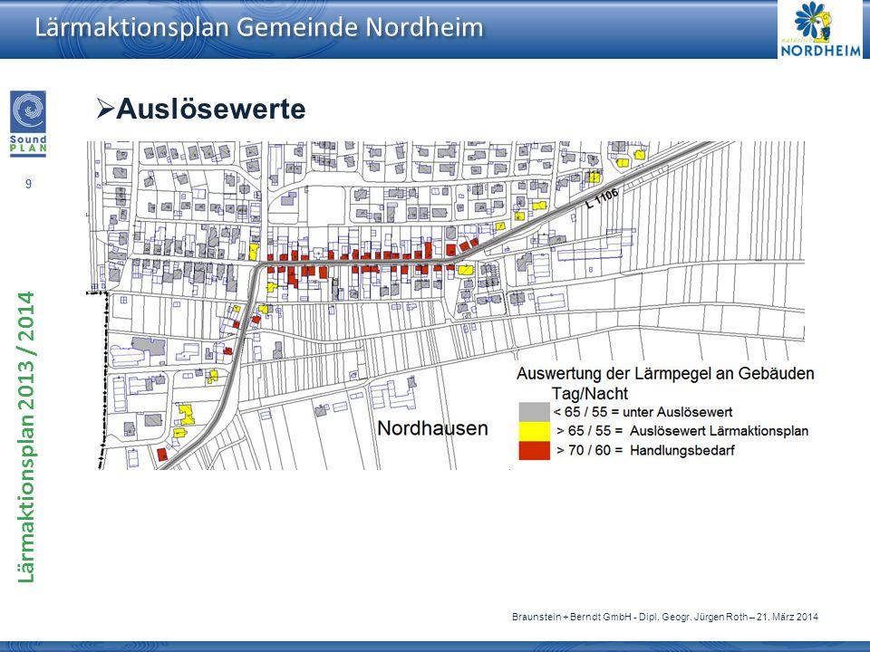 9 Lärmaktionsplan 2013 / 2014 Braunstein + Berndt GmbH - Dipl. Geogr. Jürgen Roth – 21. März 2014 Lärmaktionsplan Gemeinde Nordheim Auslösewerte